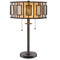 Lankin 22 inch 100 watt Bronze Table Lamp Portable Light in Multi Colored Tiffany Glass (54)