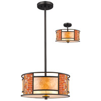 Parkwood 3 Light 14 inch Bronze Pendant Ceiling Light in Multi Colored Tiffany Glass (55)