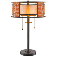 Parkwood 22 inch 100 watt Bronze Table Lamp Portable Light in Multi Colored Tiffany Glass (55)