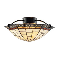 Z-Lite Prairie Garden 3 Light Semi-Flush Mount in Chestnut Bronze Z16-35SF