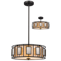 Lankin 3 Light 18 inch Bronze Pendant Ceiling Light in Multi Colored Tiffany Glass (54)