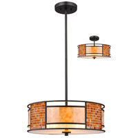 Parkwood 3 Light 18 inch Bronze Pendant Ceiling Light in Multi Colored Tiffany Glass (55)
