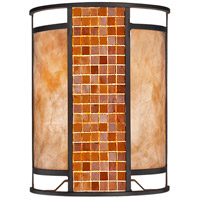 Parkwood 2 Light 8 inch Bronze Wall Sconce Wall Light in Multi Colored Tiffany Glass (55)